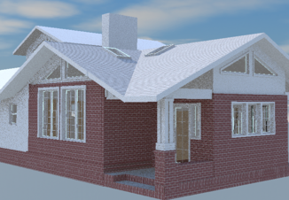 3d CAD model of Addition with low pitched roof, skylights, Entry to Music Room through brick porch with column and