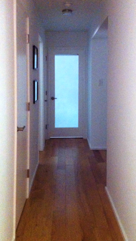 Renovated Basement Hall: daylight borrowed from Guest Room with new frosted door